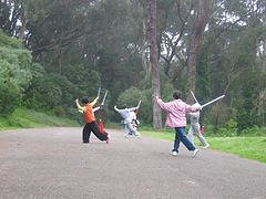 seniors-exercising-with-swords-in-park-for-health